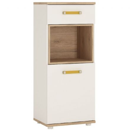4KIDS 1 door 1 drawer narrow cabinet in light oak and white high gloss